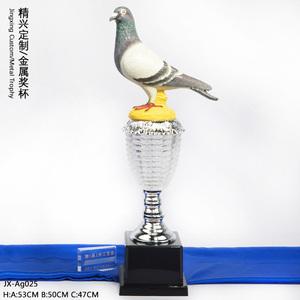 鸽子半金属奖杯 仿真鸽子奖杯 信鸽赛鸽协会定做奖杯
