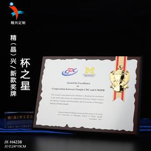 高档木质奖牌 奖杯造型设计 产品授权牌代理经销牌制作