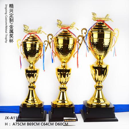 大号多层金属奖杯龙舟奖杯水上活动奖杯定做制作 木底座设计可印字