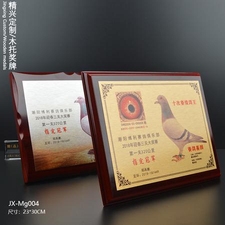高档UV打印奖牌 赛鸽比赛冠军奖牌奖杯定做 实木木牌制作